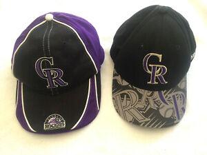 Lot of 2 COLORADO ROCKIES Baseball Hat Cap Child Youth Adjustable Purple Black