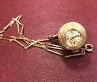 Vintage Bucherer Ball Pendant Watch, Original Chain, Works