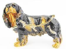 Cavalier King Charles Spaniel Jewelled Box/Figurine Black & Tan