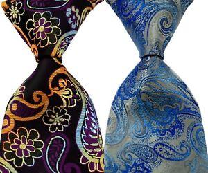 2pcs Men's Classic 100% Silk tie Floral Brown Gold Blue Necktie JACQUARD WOVEN