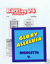 45 RPM SP NICOLETTA GLORY ALLELUIA + FEUILLE NEWS BARCLAY