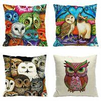 Linen Animal Owl Cushion Decor Sofa Case Cotton Waist Cover Cartoon Home Pillow