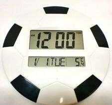 Large LCD Digital Clock Alarm Temperature Date Time Football Shape Desk Wall UK