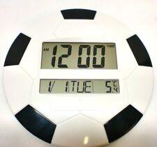 Digital Wall Clock White Black Round 26 cm Temp Football LCD 3888 Large Desk UK