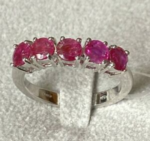 Ring Engagement Ring White Gold 18kt. With Rubies Natural Burmese Burma Myanmar