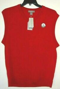 Daniel Cremieux Signature V-Neck Sweater Vest Medium Red 100% Merino Wool NWT