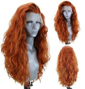 24inch Synthetic hair Glueless Lace front wigs Orange Long Curly Wavy Full Head