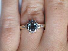 10k Yellow Gold Green Stone & Diamond Halo Ring 1512