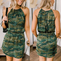 Women Ladies Fashion Camouflage Print Sleeveless Pocket Casual Short Mini Dress