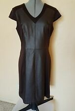 SANDRA DARREN  SIZE  12 BROWN  FAUX  LEATHER INSET SHORT SLEEVE  SHEATH  DRESS
