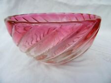 Baccarat - Ancien petit Bol Coupe en cristal moulé Bambou tors rose - Signé