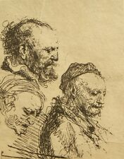 Rembrandt Gerretz van Rhyn early master etching on laid paper 1800's