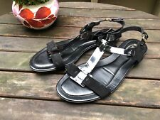 Tod's patent leather Suede T Strap sandals Gladiator 38