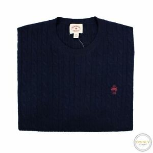NWT Brooks Brothers Red Fleece Blue Wool Cable Knit Piped Crew Neck Sweater 2XL