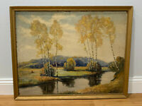 Vintage Antique Oil on Board Signed CT McKean Mountain Landscape Painting