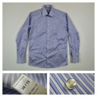 ETON Mens 15 38 Contemporary Fit Blue Striped Button Front Dress Shirt Medium