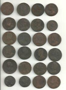 24 Copper Coins of King George I George II and George III  - AFFORDABLE