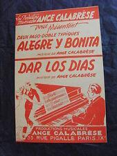 Partitura Alegre y bonita Dar los Días de ángel Pasodoble de Calabrese 1954