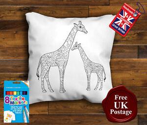 Giraffe Colouring Cushion Cover, with 8 x Fabric Pens Handmade