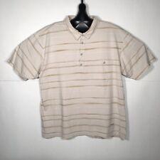 PATAGONIA Mens Organic Cotton Striped Polo Shirt TAN XL