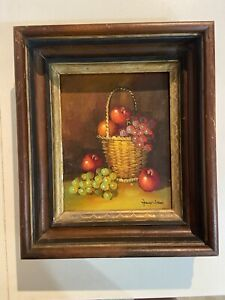 LEON FRANK:Fruit basket: OIL PAINTING  SIGNED . 10x8 inch. With frame 12x14