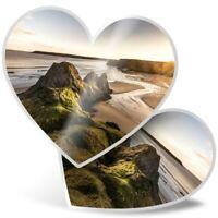 2 x Heart Stickers 7.5 cm - Three Cliffs Gower Peninsula Wales  #16374
