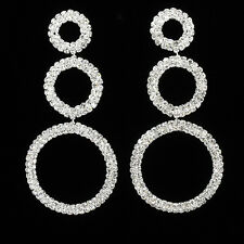 """3.8"""" Tri Circles Dangle Earrings Jewelry Wedding Party Bridal Crystals Clear 620"""