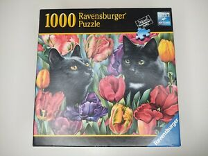 Pre-owned Ravensburger Amongst The Tulips Black Cats Kitty Flowers 1000 Puzzle