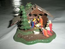 Vintage Plastic Nativity Christmas Tree Light Holder Ornament Mica Roof
