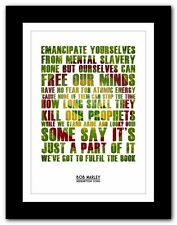 More details for ❤ bob marley redemption song ❤ song lyric poster typography art print - 4 sizes