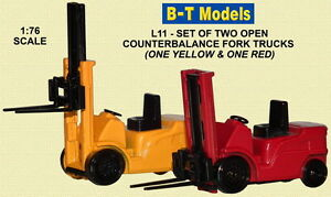 B-T Models L11 Fork Lift Truck x 2 (1 Red 1 Yellow) 1/76 Scale/OO Gauge -T48Post