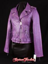 BRANDO Ladies Biker Leather Jacket Purple Cowhide Motorbike Racer Leather Jacket