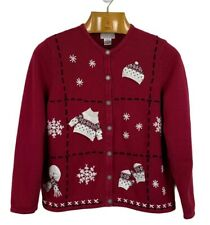 NORTHERN REFLECTIONS Size L Cotton Embroidered CHRISTMAS Winter Cardigan Sweater