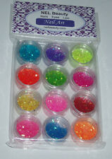 NEL Beauty Nail Art Tips DIY Glitter Med-Lg cut assortment of 12 pods