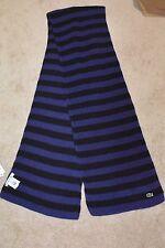 New Lacoste Womens 100% Pure Wool Blue Black Stripe MSRP $150 Tunisia