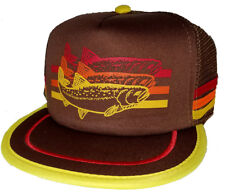 Trout Brown 3 Striped  Snapback Mesh Trucker Hat Cap Fly Fishing