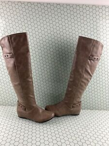 Call It Spring Taupe Synthetic Leather Side Zip Knee HighBoots Women's Size 7
