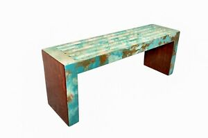 Handmade Blue/Teal Modern Painted Bench (acrylic & wood)