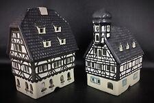 Lot de 2 superbes maisons photophore d'Alsace en biscuit de porcelaine