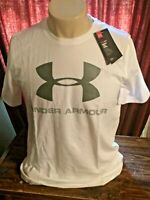 NEW Under Armour Heat Gear Charged Loose White & Gray Tee Mens Small T-Shirt