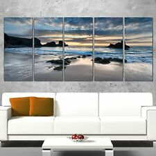 Seascape Wall Art Seashore Beach Ocean Coastal Decor 5 Pc Canvas Landscape Print