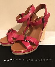 $398 MARC BY MARC JACOBS Cherry Buckled Wedge Sandal Size 39.5 NWOB