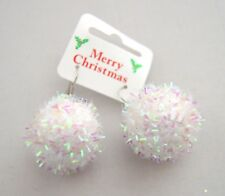 NEW White christmas snowball drop earrings costume jewellery festive party