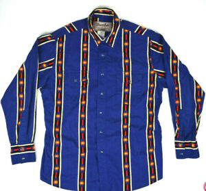 Vintage Wrangler Wrancher Blue Snap Chambray Western Shirt L Neon Aztec Stripe