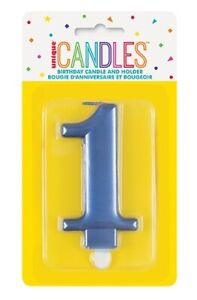 METALLIC BLUE BIRTHDAY CANDLE - NUMBER 1 CAKE TOPPER