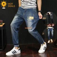 Men's Retro Camo Loose Denim Pants Stretch Taper Fit Harem Jeans Plus Size 28-48