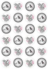 24 Bride and Groom Mr & Mrs Wedding Cupcake Cake Toppers Edible Rice Wafer Paper
