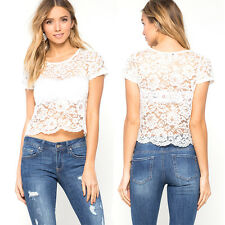 Short Sleeve Floral 1Pcs Perspective Tee Women 1x Blouse Casual Lace