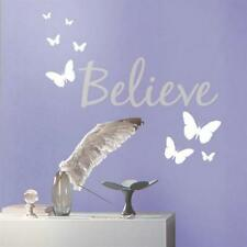 BUTTERFLIES Wall Decals Room Decor BUTTERFLY Stickers WORD BELIEVE WALL ART