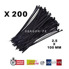 200 Serres Cables Nylon Noir Attache Collier Serrage  Autobloquant 2.5x100 mm